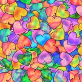 Bright Seamless Pattern of Colorful Hearts with Stylized Hologra Royalty Free Stock Images