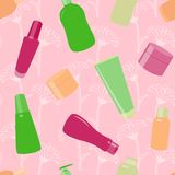 Bright seamless pattern with cosmetic bottles Stock Photo