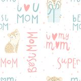 Bright seamless pattern with cute baby leopard, hand drawn mother`s day lettering. Bright seamless pattern with cute leopard and her baby, hand drawn mother`s Royalty Free Stock Images