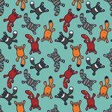 Bright seamless pattern with cute cartoon cats Royalty Free Stock Photo