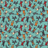 Bright seamless pattern with cute cartoon pets Royalty Free Stock Image