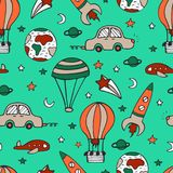 Bright seamless pattern for design with car, a rocket vector illustration