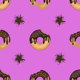 Bright seamless pattern of donuts   and chocolate smudges. Appetizing whole and bitten donuts among chocolate smudges on bright background. Seamless cooking Royalty Free Stock Photo
