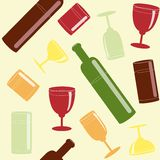 Bright seamless pattern with drinks Stock Photos