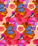 Bright seamless pattern with exotic flowers and cute birds in vector. Print for fabric, paper, wallpaper, wrapping design stock illustration