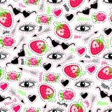 Bright seamless pattern with eyes, strawberry, arrow, roses, sunglasses and hearts. Stock Photos