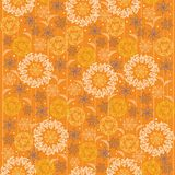 Bright seamless pattern with fantasy flora lines Royalty Free Stock Images