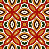 Bright seamless pattern with floral ornament in Christmas traditional colors. Ethnic and tribal motifs. Bright seamless pattern with floral ornament in Stock Image