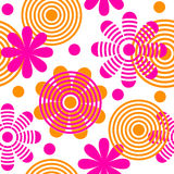 Bright seamless pattern with flowers and circles. Royalty Free Stock Image