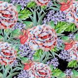 Bright seamless pattern with flowers. Leaves. Rose. Watercolor illustration. Royalty Free Stock Images