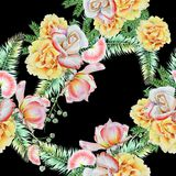 Bright seamless pattern with flowers. Leaves. Rose. Watercolor illustration. Stock Image