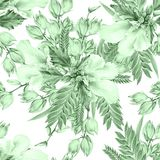 Bright seamless pattern with flowers. Mallow. Yucca. Watercolor illustration. Hand drawn royalty free illustration