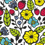 Bright seamless pattern with flowers and plants. Royalty Free Stock Photos