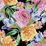 Bright seamless pattern with flowers. Rose. Iris.  Watercolor illustration. Stock Photo