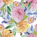 Bright seamless pattern with flowers. Rose. Iris.  Watercolor illustration. Royalty Free Stock Photography