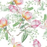 Bright seamless pattern with flowers. Rose. Watercolor illustration. Royalty Free Stock Images