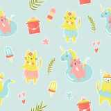Bright seamless pattern with funny summer cats royalty free illustration