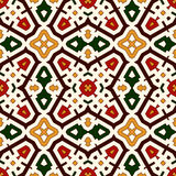 Bright seamless pattern with geometric ornament in Christmas traditional colors. Ethnic and tribal motifs. Bright seamless pattern with geometric ornament in Stock Photography