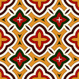 Bright seamless pattern with geometric ornament in Christmas traditional colors. Ethnic and tribal motifs. Bright seamless pattern with geometric ornament in Royalty Free Stock Photography