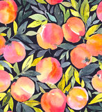 Bright seamless pattern with hand painted watercolor peaches. Stylish fruit design Royalty Free Stock Image