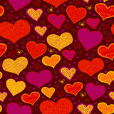 Bright seamless pattern with hearts in circles Royalty Free Stock Photos