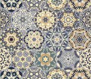 Bright seamless pattern of hexagonal tiles. With vintage ornament. Colorful vector set of elements for design of wallpaper, fabric or wrapping paper Stock Photo