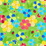 Bright seamless pattern with leaves, flowers, butterflies Royalty Free Stock Photo