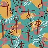 Bright seamless pattern with lines, spots, dots and dancing peop Royalty Free Stock Photo