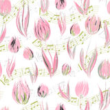 Bright seamless pattern with oil painted delicate pink tulip flowers end note Stock Photos