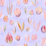 Bright seamless pattern with oil painted pastel blue pink tulip flowers end notes Stock Images