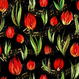 Bright seamless pattern with oil painted red tulip flowers end gold notes on black background. Stock Images
