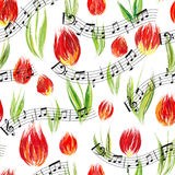 Bright seamless pattern with oil painted red tulip flowers end notes, design elements. Stock Photo