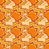 Bright seamless pattern with orange and red leaves Royalty Free Stock Images