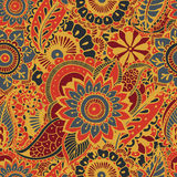 Bright seamless pattern with paisley mehndi elements. Hand drawn wallpaper with floral traditional indian ornament Royalty Free Stock Photos