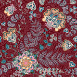 Bright seamless pattern in paisley style. Colorful floral background Stock Image