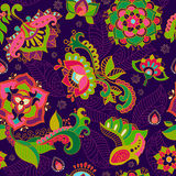 Bright seamless pattern in paisley style Stock Photos