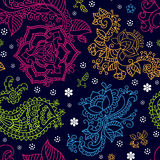 Bright seamless pattern in paisley style Stock Photo