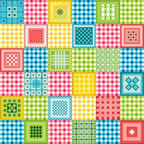 Bright seamless pattern. In patchwork style. Pattern for design greetings card, textile, scrapbook Royalty Free Stock Images
