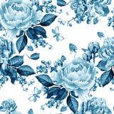 Bright seamless pattern with peony flowers and raspberries . Royalty Free Stock Photography