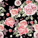 Bright seamless pattern with peony flowers , roses and blackberries. Illustration Royalty Free Stock Image