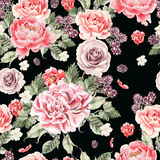 Bright seamless pattern with peony flowers , roses and blackberries . Illustration Stock Photography