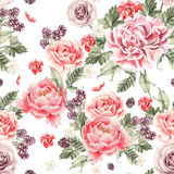 Bright seamless pattern with peony flowers , roses and blackberries. Illustration Stock Photos