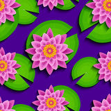 Bright seamless pattern with pink lotus and leaf. Floral bright seamless pattern with beautiful 3d pink lotus and green leaves.  Modern nature background with Stock Photography