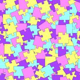 Bright seamless pattern with random distributed puzzles of yellow, pink, blue and violet colors. Background with chaotic distributed puzzles. Vector Royalty Free Stock Image