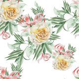 Bright seamless pattern with roses and leaves. Watercolor illustration. stock photography