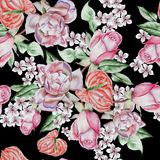Bright seamless pattern with roses. Watercolor illustration. Stock Image