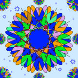 Bright seamless pattern with round ornaments. Royalty Free Stock Photo