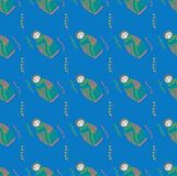 Bright seamless pattern. Russian dolls and abstract figures in the form of leaves and dots. Vector. vector illustration