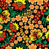 Bright seamless pattern in Russian Khokhloma style stock illustration