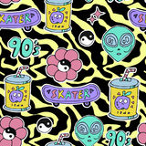 Bright seamless pattern 80s 90s style. Bright seamless pattern with fashion patch badges- alien,flower,skateboard etc on yellow zebra print background 80s 90s Royalty Free Stock Photography